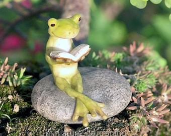 Frog Reading on Stone for Miniature Garden, Fairy Garden