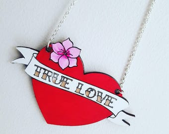 Love heart necklace, true love necklace, rockabilly necklace, tattoo jewellery, valentines gift, statement necklace, pin up jewellery,