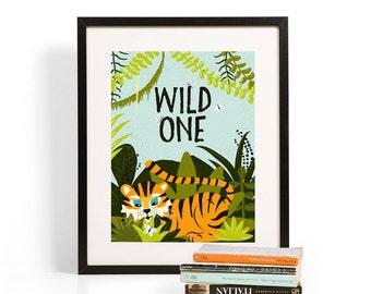 Wild One Children's Art Print | Tiger Illustration | Folk and Fauna Co.