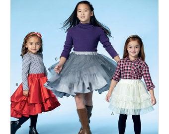 McCalls' M7498 Children's/Girls' Tiered and Ruffled Skirts