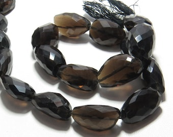 Smokey Quartz - 14'' inches Long - So Nice Natural Color - Fine Cut Faceted Nuggest Size - 18 - 24 mm Long - weight 410 crt