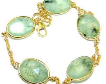 Moss Prehnite Sterling Silver Bracelet - weight 9.80g - dim 1 2 inch - code 29-mar-18-57