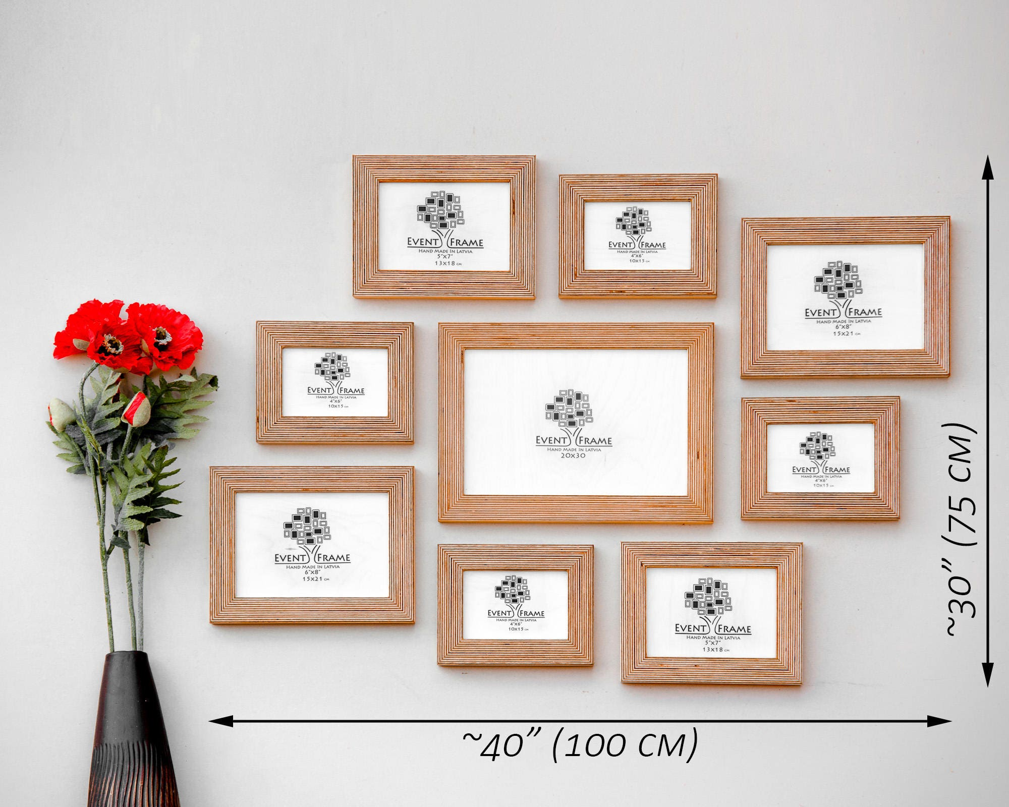 9 Picture Frame Set Rustic Photo Frame Collage Natural Wood