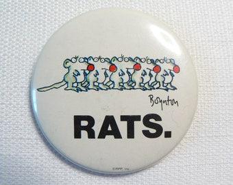 BIG Vintage Early 80s Rats - Sandra Boynton Cartoon / Comic - Novelty Pin / Button / Badge