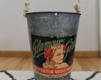SALE! Decorative Sap Bucket - Vintage Glamour Girl