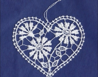 Germany Woven Cotton Thread Christmas Heart Ornament For Crafting  LHS0017