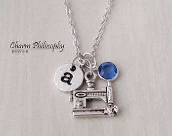 Sewing Machine Necklace - Sewing Gifts - Mom Gifts Ideas - Monogram Personalized Initial and Birthstone
