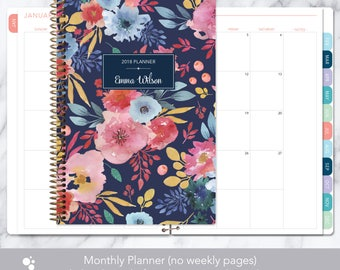 MONTHLY PLANNER notebook | 2018 2019 no weekly view | choose your start month | 12 month calendar | navy blue pink watercolor floral