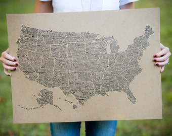 """America in Type - USA Print - Hand-Lettered - Letterpress 18"""" x 24"""""""