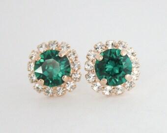 Swarovski earrings,emerald green earrings,crystal earrings,stud earrings,rose gold earrings,emerald earrings,green crystal,emerald wedding