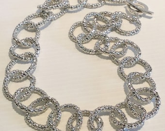HUGE Flexible Link Sterling Silver Chain With Toggle Closure Statement Piece