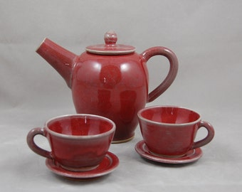 Children's Tea Set in Copper Red with 2 Cups and Saucers, Kids Tea set, Child's Tea Set, Miniature Tea Set