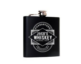 Whiskey Gift Personalized Black & Silver Flask Bachelor Party Groomsman Gift Idea 21st birthday