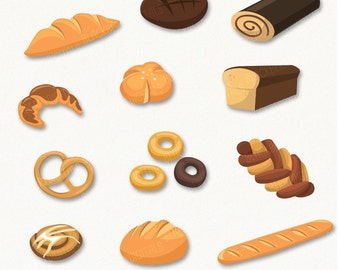 Bakery Cliparts, bakery clip art images, baked goods vector, bakery digital art, food clipart, commerciel use, with Instant Download