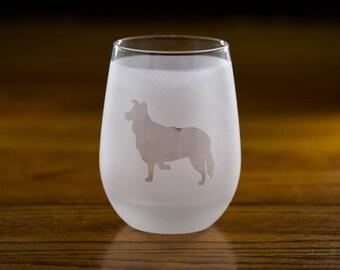 Border Collie Custom Wine Glass Set