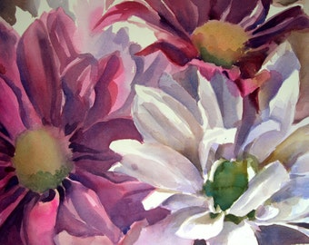"""Happy Daisies- Floral fine art watercolor painting print - open edition by SriWatercolors - 9.5 """" x 7"""""""
