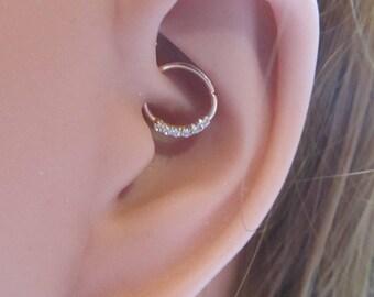 14k Rose Gold Daith Piercing,6 mini cz's Bendable Ring..16g..8mm