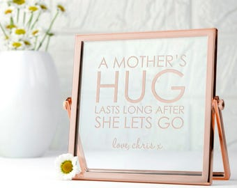 Engraved Never Let Go Rose Gold Frame - Mother's Day Gift - To My Mom - Affermation Gift - Powerful Message - FREE UK DELIVERY