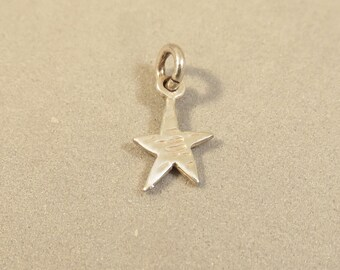 TINY STAR Double Sided .925 Sterling Silver Charm 5 Point Celestial Mystical Astrology Cute Little Wish upon a Star New my31