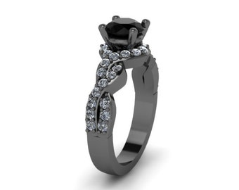 Black Diamond Engagement Ring Wedding RIng 14K Black Gold Anniversary Ring with 6.5mm Round Black Diamond Center Eternity Ring Unique- V1033