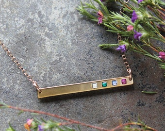 Gold Bar Necklace with Birthstones, Delicate Gold Birthstone Bar Necklace. Personalized Family Mothers Necklace by Toozy. GRATITUDE