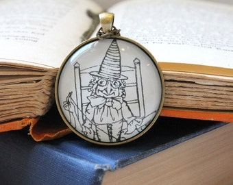 sewing witch pendant - Arthur Rackham illustration - fairy tale pendant - wise crone - literary jewelry - faerie story book necklace