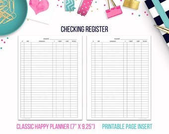 Classic HP: Checking Register • Budget Binder Printable Page Insert for CLASSIC Happy Planner® sized Discbound or Ringbound Planners