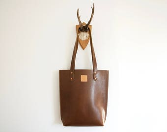 Brown leather tote // Chestnut brown leather slim tote shopper bag