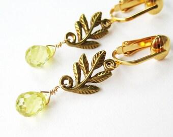 Lemon Yellow Drop Clip-on Earrings, Leafy Brass Branch Dangle Clip Earrings, Faceted Teardrop Stones, Gold Nature Leaf Clipons Sylvan Yellow