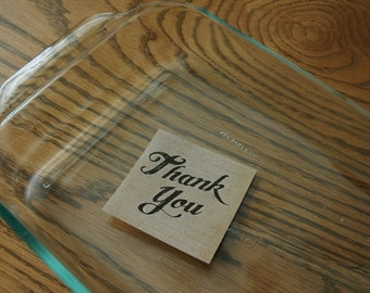 CLEARANCE!!  Thank You Sticky Note Pad -- Kraft Paper with Brown Lettering -- Post-It -- 50 Sheets each -- Easy way to say Thanks