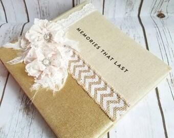Personalized Wedding Album,Handmade Wedding Album, Ivory and Gold Photo Album, Shabby Chic Album, Chevron Album, Anniversary Album