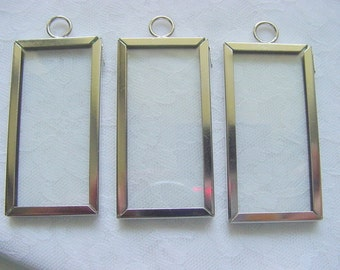 3 Pieces 1x2  Inch Rectangle Silver Frame With  Glass by Darice (042)