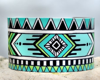 Turquoise Cuff, Aztec Geometric Cuff, Tribal Doodle Cuff, Adjustable Metal Cuff, Custom Printed Cuff Bracelet, Doodle Art Cuff