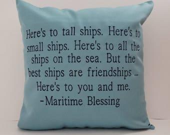 MARITIME BLESSING PILLOW cover Sunbrella Indoor Outdoor Pillow Boat Pillow Nautical Pillow Beach Pillow Decorative Pillow Cover oba canvas