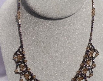 Beaded Tatting Crystal Lace Necklace