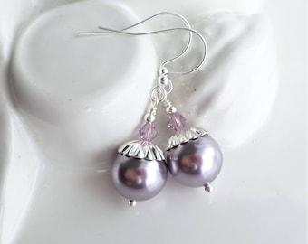 Purple Pearl Earrings, Purple Crystal Wedding Earrings, Bridal Party Purple Jewelry, Swarovski Simple Purple Pearl Minimalist Earrings