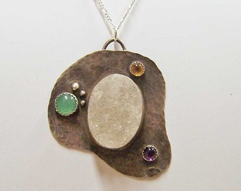 Necklace-Pendant- Sterling Silver with Quartz Drusy, Aventurine, Citrine, and Amethyst Cabochons