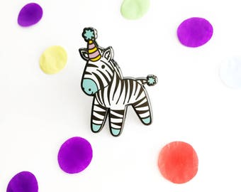 Zizi The Party Zebra Enamel Pin | Cute Enamel Lapel Pin | Zoo Pin | Party Animal | Celebration Lapel Pin | Party Hat | Birthday Pin | Zebra