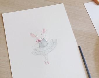 Personalised Ballerina Mouse Nursery Print