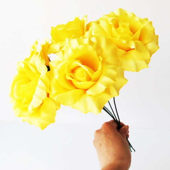 10 roses artificial silk flowers yellow rose 45 floral diy 10 roses artificial silk flowers yellow rose 45 floral diy wedding hair accessories flower supply faux fake wedding snabby chic blossoms from mightylinksfo