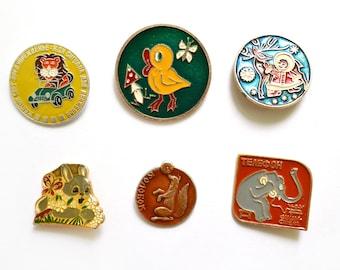 Cartoon vintage enamel pins, buttons, metal badges, Vintage Soviet memorabilia 1980s USSR, kolobok fox elephant rabbit eskimo baby duck lion