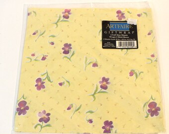 Vintage Artfaire Wrapping Paper Gift Wrap All Occasion Birthday Spring Violet Flowers Yellow Paper
