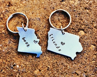 BEST FRIEND Gift -Keychains Set of Two(2)- Choose your State and Heart Locations