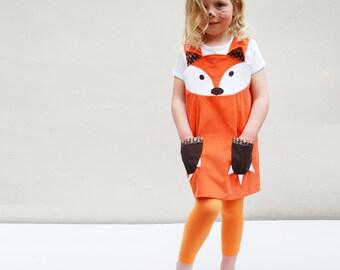 Fox girls Dress original play pinafore in orange corduroy