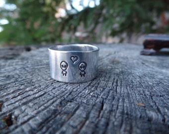 Alien Love - hand stamped aluminum adjustable ring