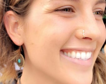 Nose Ring. Indian nose ring. Septum. Handmade. Gift. Jewelry. Nose hoop. Bohemian. Boho. Statement Ring. Cyber Monday. Swarovski crystal
