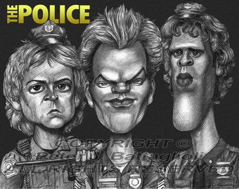 Police Poster Cartoon Caricature  Limited Edition Art Print