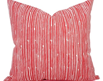 Two Coral Throw Pillows - Pillows - Coral Stripe Decorative Throw Pillows - Couch Pillows - Accent Pillow - Coral Pillows
