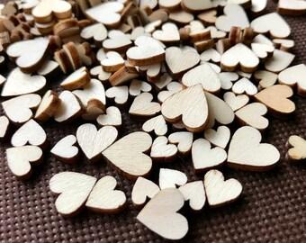 1000 Mini Wood Confetti Hearts - Bulk Tiny Wedding Table Scatter Confetti - Big Pack - Mini Wood Hearts