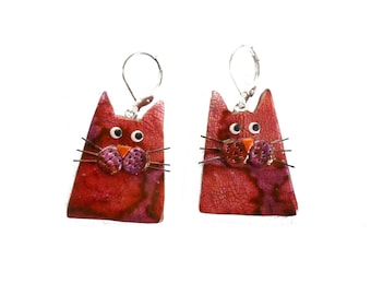 Cat earrings Strawberry pink, artisan made cats jewelry, fun polymer clay earrings, gift for cat lover Sterling Silver earrings gift for her